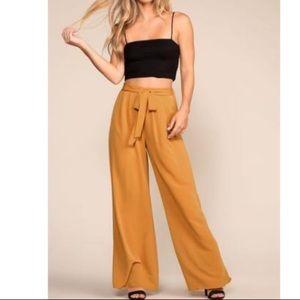 Pants - Mustard side pockets belted wide leg pants